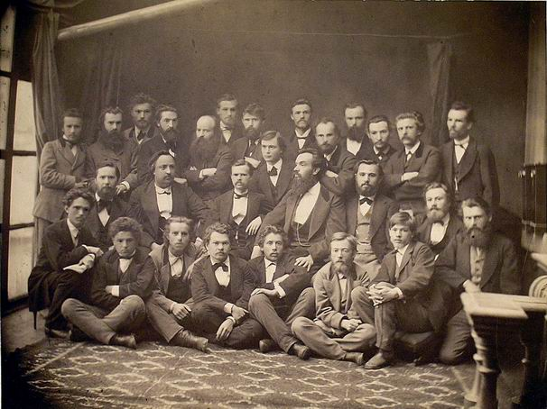 "Ivan Nechuy-Levytsky (in the centre) with ""Stara Hromada"" movement members. 1873."